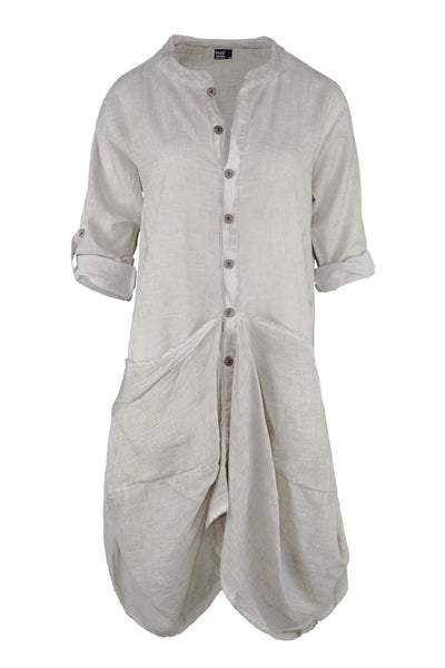 Beige Denim Effect Long Sleeve Dress With Baggy Pockets - Breakmood