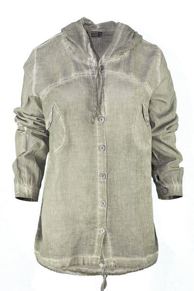 garment dyed khaki shirt with hood top ipekci