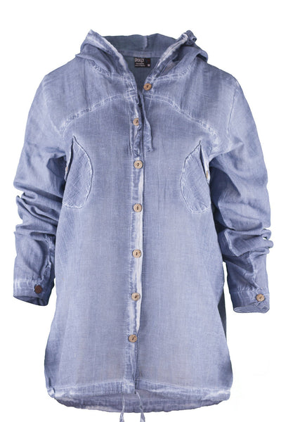 garment dyed denim color shirt with hood top ipekci