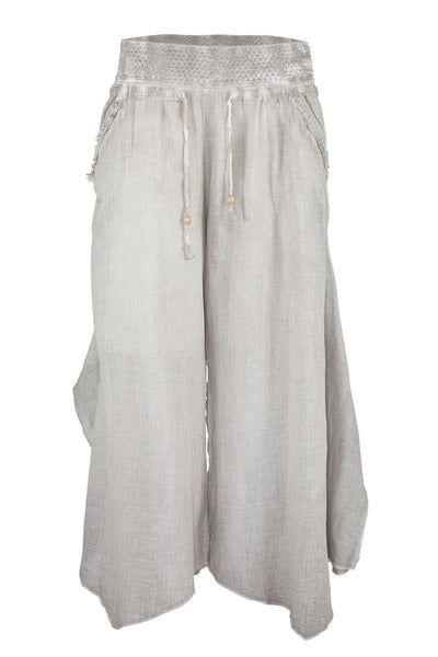 garment dyed beige brown baggy pant bottoms ipekci