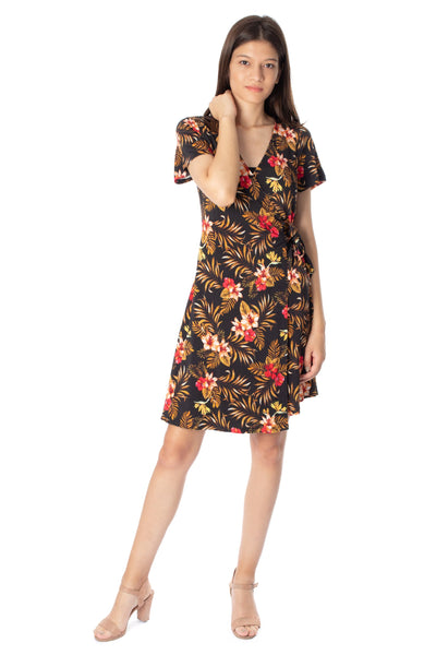chassca floral printed short sleeve wrap front midi dress - Breakmood