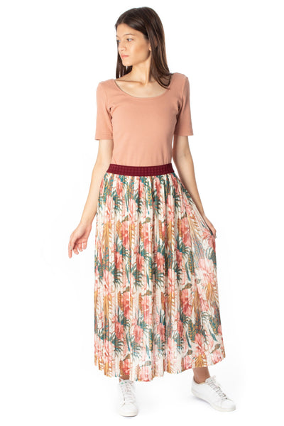 chassca floral printed maxi pleated skirt - Breakmood