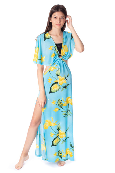 chassca printed beach maxi dress with ring detail - Breakmood