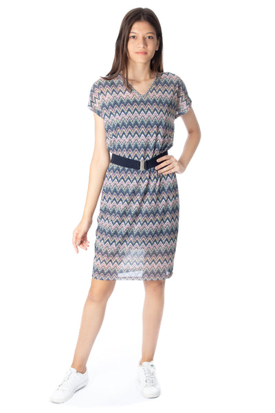 chassca printed midi stripy shift dress - Breakmood
