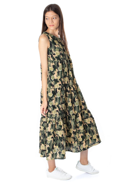 chassca floral printed shirred tiered design maxy dress - Breakmood