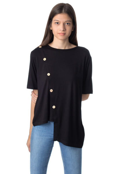 chassca crew-neck biased front blouse - Breakmood