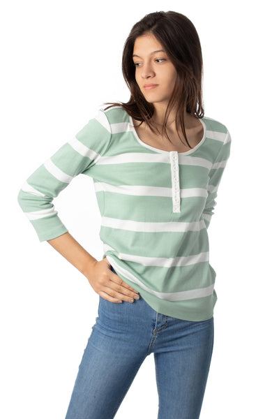 chassca  boat neck with button striped  t-shirt - Breakmood