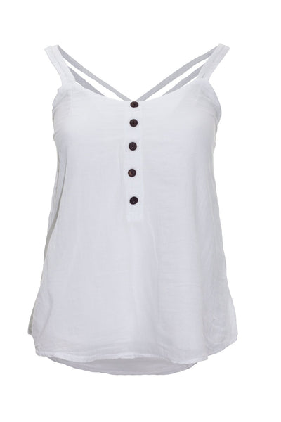 garment dyed white cami top top ipekci