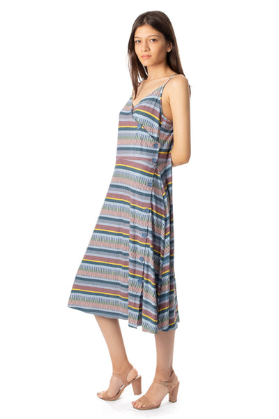 chassca printed midi stripy sun dress - Breakmood