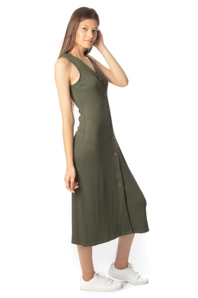 chassca rib comfort V-neck button through maxi dress - Breakmood