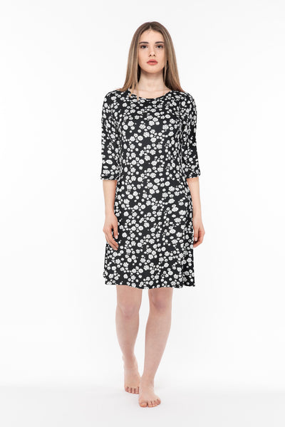 chassca black A-line  flower printed midi dress - Breakmood