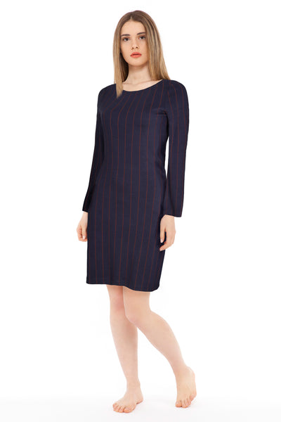 chassca red stripe A-line navy long sleeve midi dress - Breakmood
