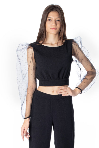 chassca crew neck lace sleeve cropped blouse - Breakmood