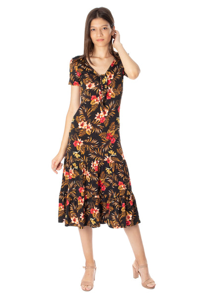 chassca floral printed short sleeve maxi dress with frill skirt - Breakmood