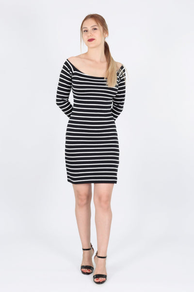 chassca bodycon stripy long sleeve dress - Breakmood