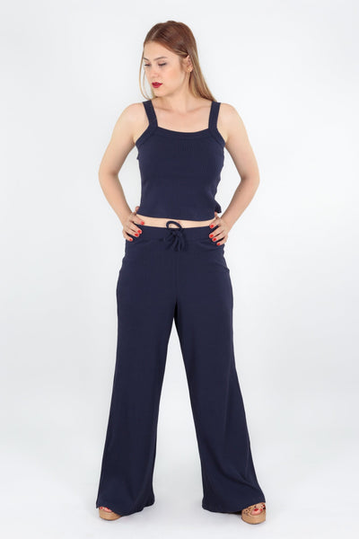 chassca navy singlet top with wide leg pant - Breakmood