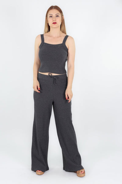 chassca antra marl singlet top with wide leg pant - Breakmood