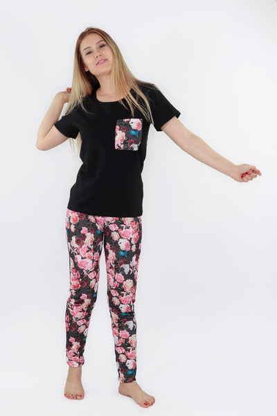 chassca short sleeve tee &  floral printed pant pyjama set - Breakmood
