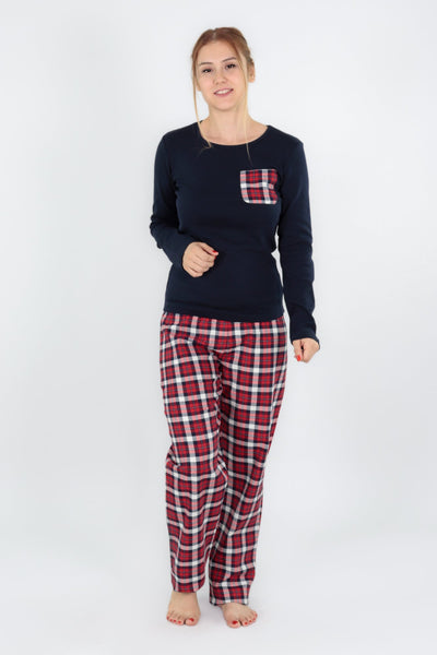 chassca long sleeve tee & check print pant pyjama set - Breakmood
