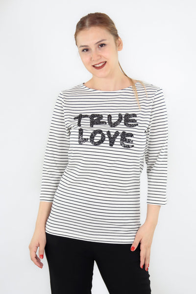 chassca boat neck striped true love t-shirt - Breakmood