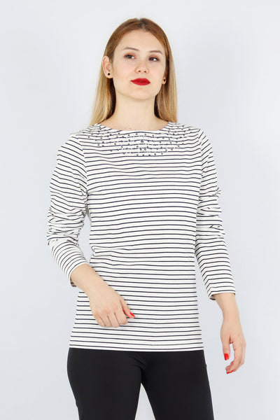 chassca boat neck striped  t-shirt with sequin embellishment - Breakmood