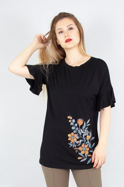 chassca boat neck frill sleeve  t-shirt with embroidery - Breakmood