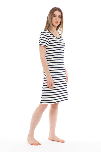 chassca navy/ivory stripe sleeping addict nightdress - Breakmood