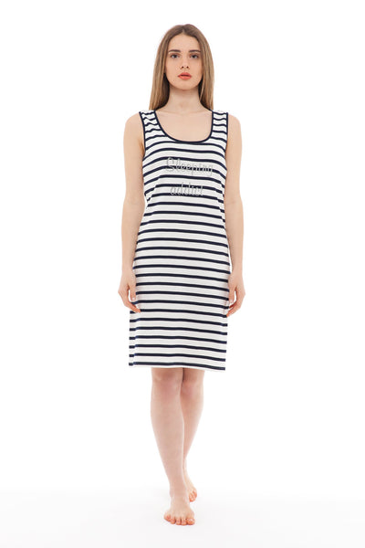 chassca navy/ivory stripe sleeping addict sleeveless nightdress - Breakmood