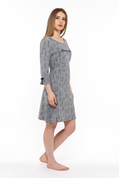 chassca morning intolerant 3/4 sleeve nightdress with house print - Breakmood