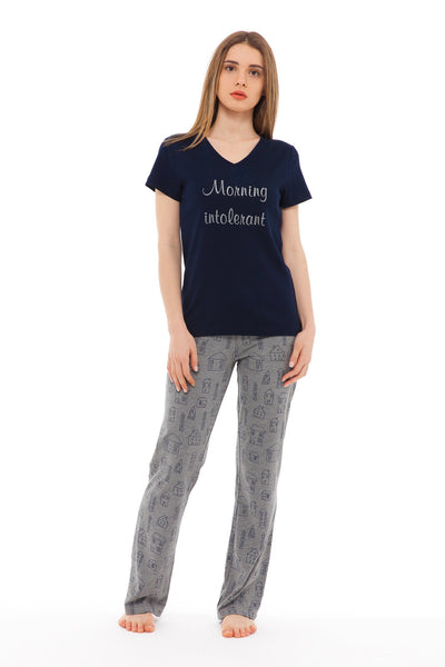 chassca house print morning intolerant... v-neck tee & pant pyjama set - Breakmood