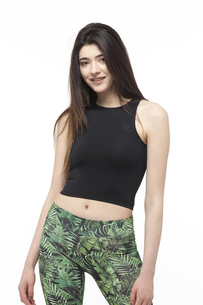 hill & dale sports crop top top hill & dale black XS 95% Cotton 5% Elastane