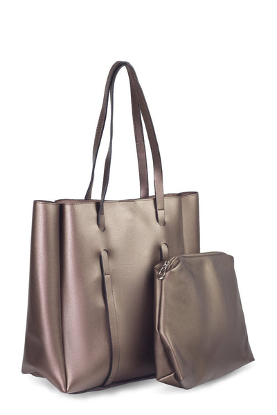 chassca copper color shoulder bag with makeup bag - Breakmood