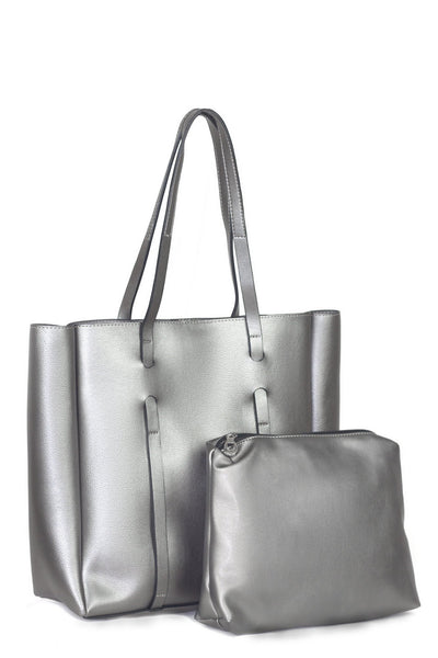 chassca silver color shoulder bag with makeup bag - Breakmood