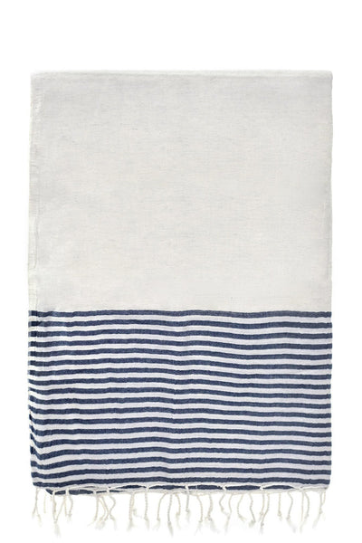 navy stripe dervish peshtemal cotton-linen-bamboo turkish towels chassca