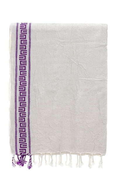 antique cotton-linen peshtemal with purple bordure - Breakmood