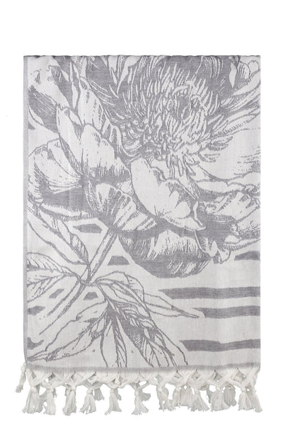 grey flower jacquard peshtemal turkish towels dost