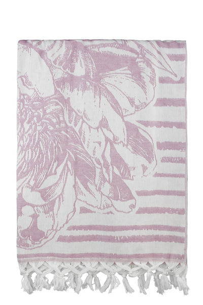 pink flower jacquard peshtemal turkish towels dost