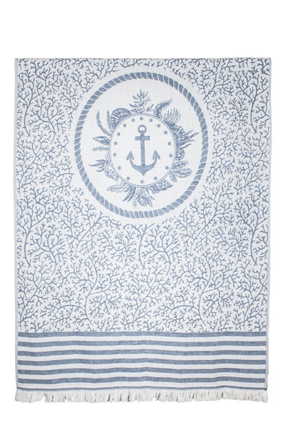 navy marine jacquard peshtemal turkish towels dost