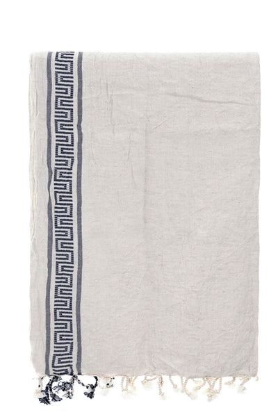 antique cotton-linen peshtemal with black bordure - Breakmood