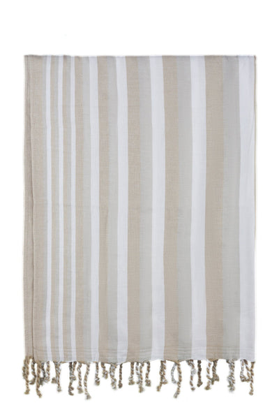 brown ivory stripe peshtemal - Breakmood