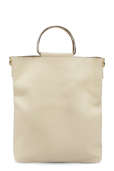 chassca faux leather beige hand bag - Breakmood