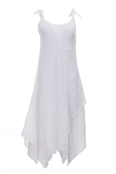 white cami maxi dress with embroidery dress ipekci