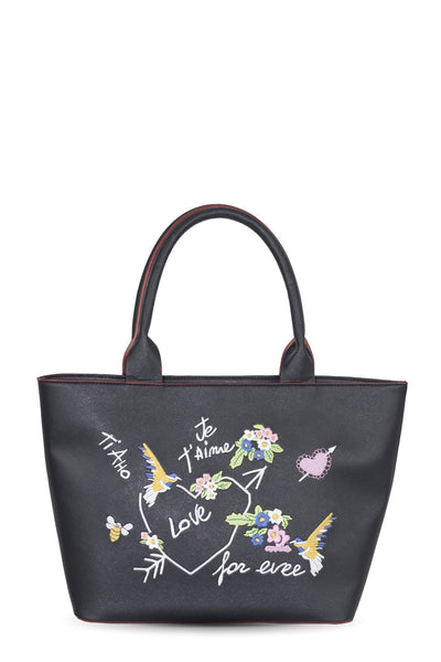 chassca black shoulder bag with embroidery - Breakmood