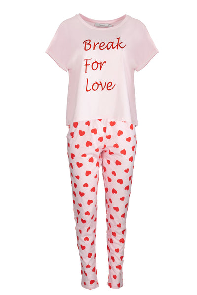chassca tee & pant pyjama set with break for love chest slogan - Breakmood