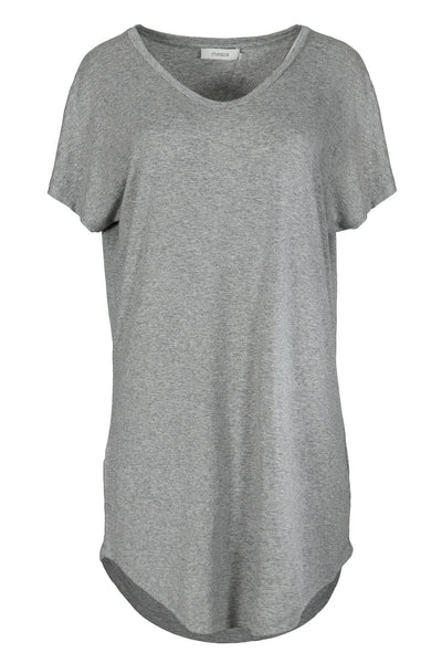 chassca v-neck short sleeve grey marl basic viscose tunic - Breakmood