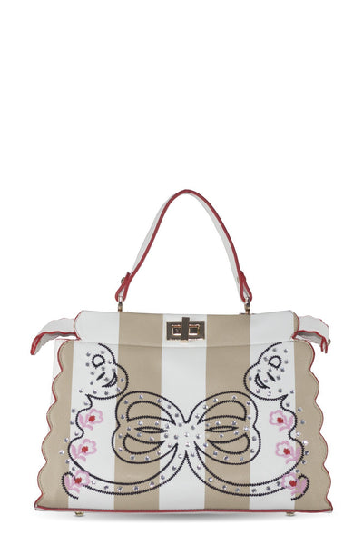 chassca brown/white handbag with embroidery and stone details - Breakmood