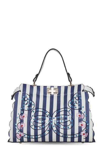 chassca navy/white handbag with embroidery and stone details - Breakmood
