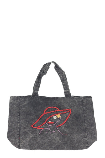 authentic black denim look casual shoulder bag with embroidery - Breakmood