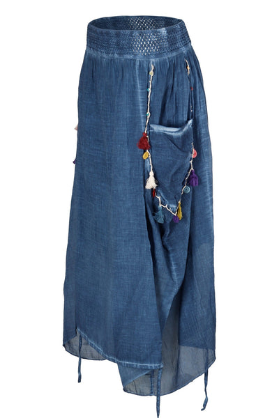 garment dyed denim blue authentic maxi skirt bottoms ipekci