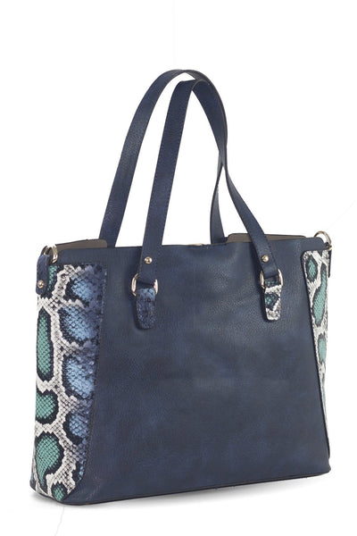 chassca navy faux snake leather shoulder bag with purse - Breakmood